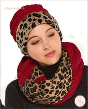 Load image into Gallery viewer, C.c. Beanie Leopard Cuff Hat Maroon