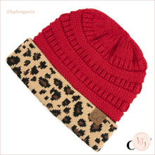 Load image into Gallery viewer, C.c. Beanie Leopard Cuff Hat Red