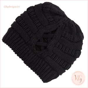 C.c. Beanie Ribbed Winter Criss Cross Ponytail