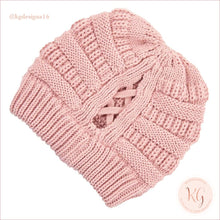 Load image into Gallery viewer, C.c. Beanie Ribbed Winter Criss Cross Ponytail