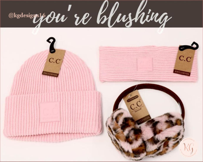 C.c.beanie Rubber Patch Pink Collection Scarf Hat Leopard Earmuffs