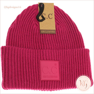 C.c. Beanie Solid Ribbed With Rubber Patch Hat7007 Hot Pink