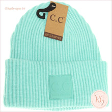 Load image into Gallery viewer, C.c. Beanie Solid Ribbed With Rubber Patch Hat7007 Mint