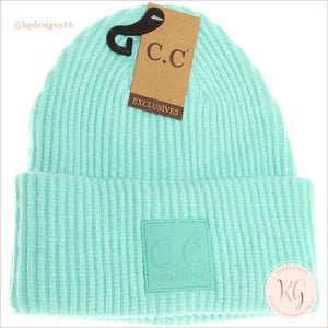C.c. Beanie Solid Ribbed With Rubber Patch Hat7007 Mint