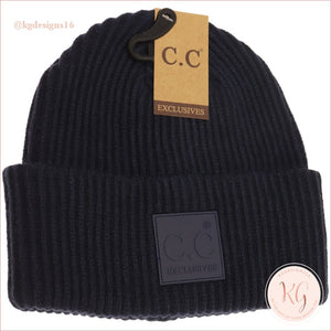 C.c. Beanie Solid Ribbed With Rubber Patch Hat7007 Navy