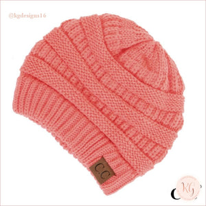 C.c. Beanie Classic Knit Solid Hat Coral