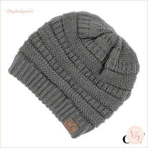 C.c. Beanie The Original Classic Knit Solid Hat Light Gray
