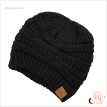 Load image into Gallery viewer, C.c. Beanie Classic Knit Solid Hat Black