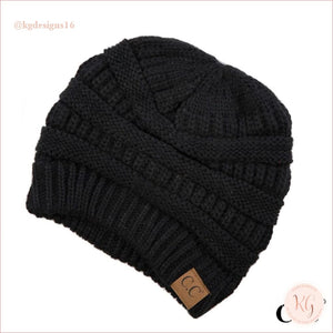 C.c. Beanie Classic Knit Solid Hat Black