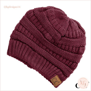 C.c. Beanie The Original Classic Knit Solid Hat 20A Burgundy