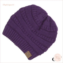 Load image into Gallery viewer, C.c. Beanie The Original Classic Knit Solid Hat Dark Purple