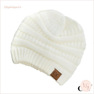 C.c. Beanie Classic Knit Solid Hat Ivory