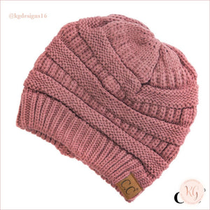 C.c. Beanie Classic Knit Solid Hat Rose
