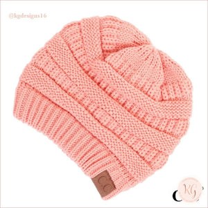 C.c. Beanie Classic Knit Solid Hat Peach