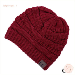 C.c. Beanie Classic Knit Solid Hat Red