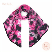 Load image into Gallery viewer, C.c. Beanie Tie Dye Rubber Patch Bias Cut Scarf Hot Pink/black