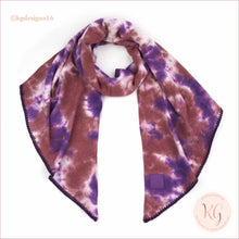 Load image into Gallery viewer, C.c. Beanie Tie Dye Rubber Patch Bias Cut Scarf Iris/wild Ginger