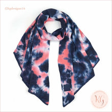 Load image into Gallery viewer, C.c. Beanie Tie Dye Rubber Patch Bias Cut Scarf Navy/pink