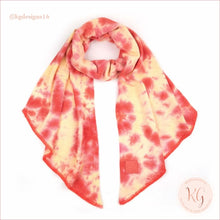 Load image into Gallery viewer, C.c. Beanie Tie Dye Rubber Patch Bias Cut Scarf Orange/peach
