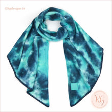 Load image into Gallery viewer, C.c. Beanie Tie Dye Rubber Patch Bias Cut Scarf Teal/sea Green