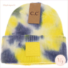 Load image into Gallery viewer, C.c. Beanie Tie Dye Rubber Patch Hat 7380 Denim/yellow