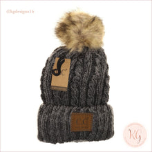 Load image into Gallery viewer, C.c. Beanie Two-Tone Ombre Vintage Faux Fur Pom Yj2032 Gray