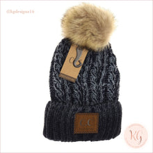 Load image into Gallery viewer, C.c. Beanie Two-Tone Ombre Vintage Faux Fur Pom Yj2032 Navy
