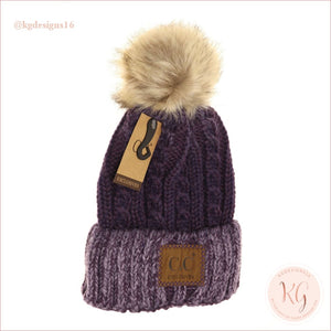 C.c. Beanie Two-Tone Ombre Vintage Faux Fur Pom Yj2032 Purple