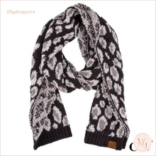 Load image into Gallery viewer, C.c. Beanie Woven Leopard Print Scarf Black