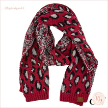 Load image into Gallery viewer, C.c. Beanie Woven Leopard Print Scarf Burgundy