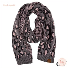 Load image into Gallery viewer, C.c. Beanie Woven Leopard Print Scarf Gray