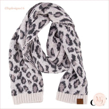 Load image into Gallery viewer, C.c. Beanie Woven Leopard Print Scarf Ivory