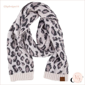 C.c. Beanie Woven Leopard Print Scarf Ivory