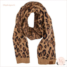Load image into Gallery viewer, C.c. Beanie Woven Leopard Print Scarf Latte