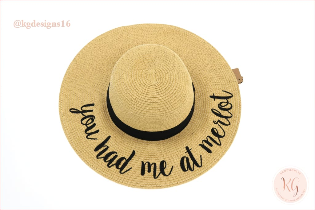 C.c. Beanie You Had Me At Merlot Sun Hat Wide Brim Vacation Straw Jw
