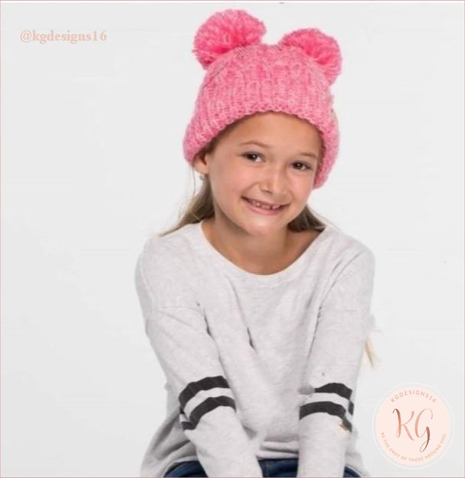 C.c. Beanies Kids Multi Tone Double Pom Kid23
