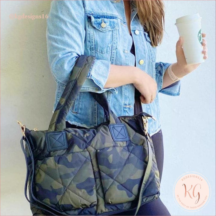 Camo Puffy Quilted Camouflage Tote Handbag