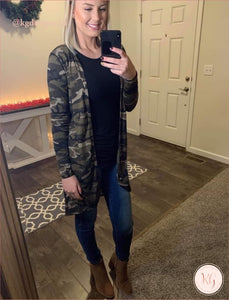 Camouflage Womens Long Cardigan