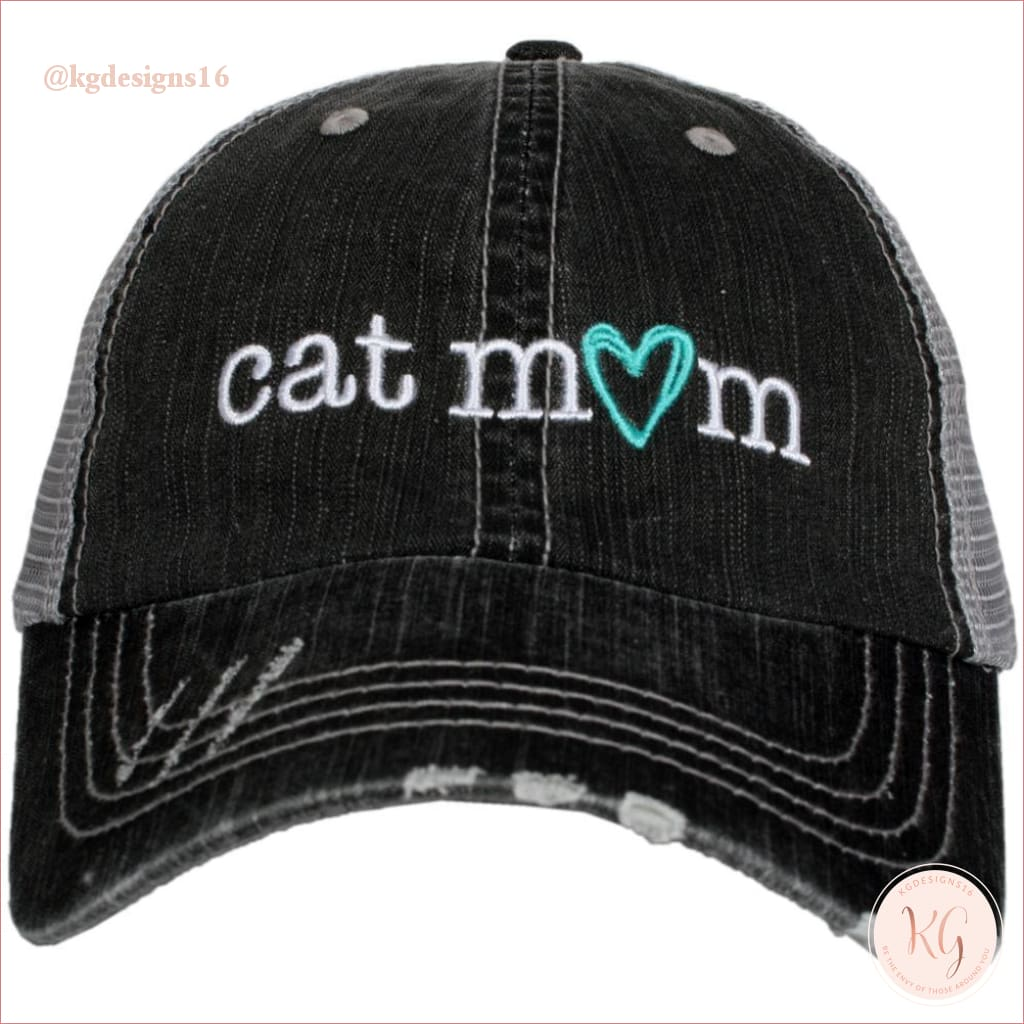 Cat Mom Embroidered Baseball Trucker Hat Gray Trucker Hats