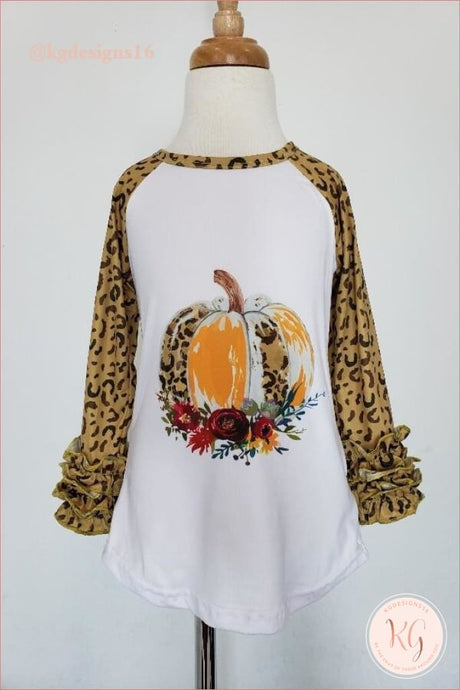 Cheetah Leopard Print Pumpkin Girls Ruffle Raglan Top