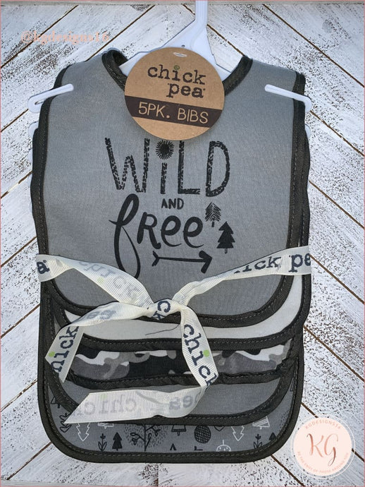 Chick Pea Baby Boys Wild And Free 5-Pack Bib Set