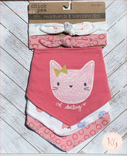 Load image into Gallery viewer, Chick Pea Baby Girls 5 Piece Cat Headband And Bib Set