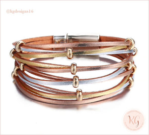 Copy Of Kate Tuesday Rose Gold Leather Wrap Magnetic Bracelet