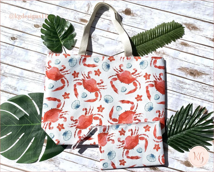 Crab Print Resort Destination Canvas Tote Bag