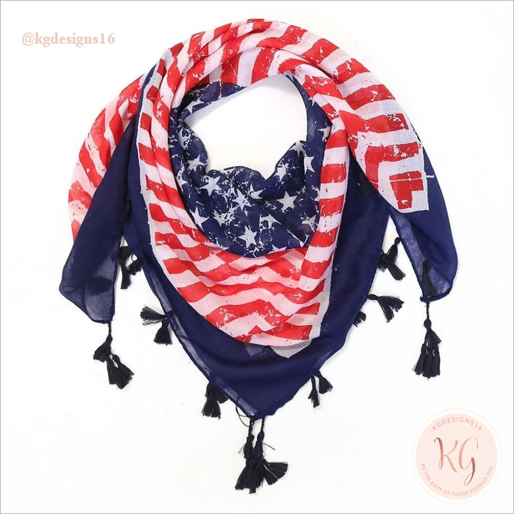 Do Everything In Love American Flag Tassel Scarf