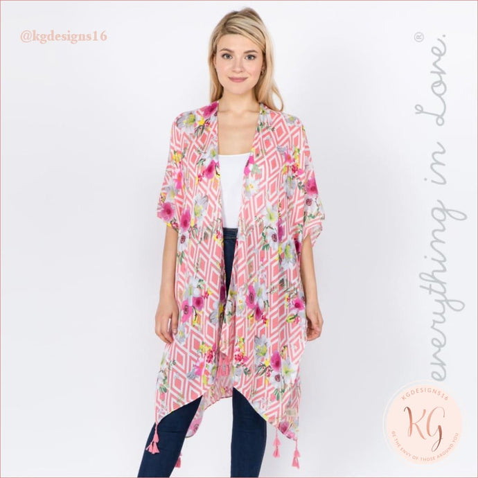 Do Everything In Love Geometric Floral Tassel Lightweight Resort Wear Pink Kimono
