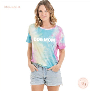 Dog Mom Womens Wholesale Tie Dye Graphic T-Shirt Blue Pink And Yellow / S Short Sleeve