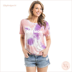 Dog Mom Womens Wholesale Tie Dye Graphic T-Shirt Orange And Purple / S Short Sleeve