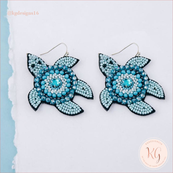 Embellished Seed Bead Beaded Sea Turtle Earrings