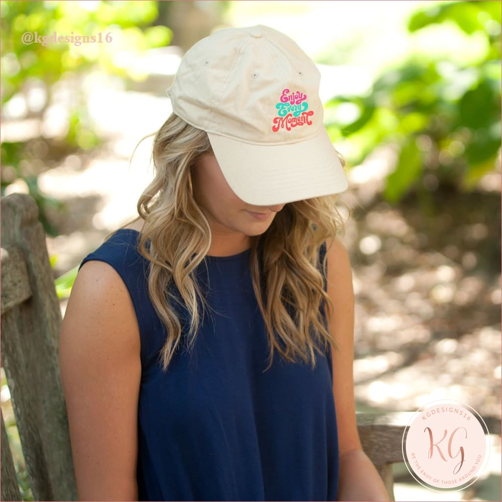 Enjoy Every Moment Natural Embroidered Baseball Hat